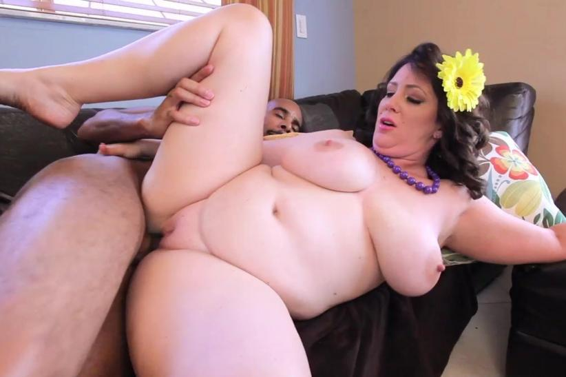 Ebony plumper takes fat white cock